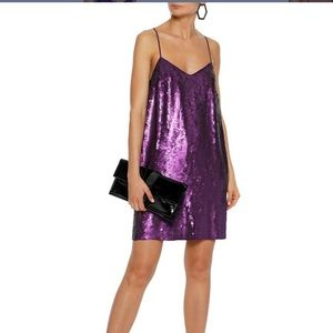 Tibi Sequined Silk Crepe De Chini mini slip dress